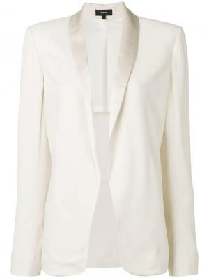 Пиджак с лацканами шалька Theory. Цвет: белый