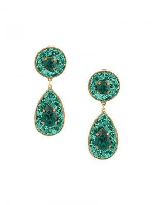 Shimmer drop earrings Shourouk. Цвет: зеленый