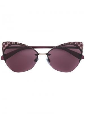 Солнцезащитные очки в оправе кошачий глаз Bulgari. Цвет: pink