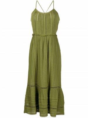Платье Ayesha без рукавов с оборками Veronica Beard. Цвет: зеленый