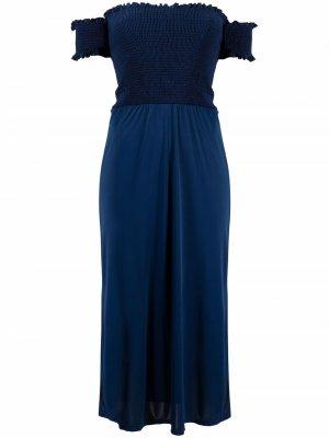 Платье с приспущенными плечами и сборками Cia Marítima. Цвет: синий