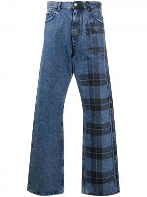 Клетчатые джинсы широкого кроя Marni. Цвет: синий