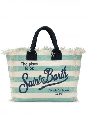 Полосатая пляжная сумка с логотипом Mc2 Saint Barth. Цвет: нейтральные цвета