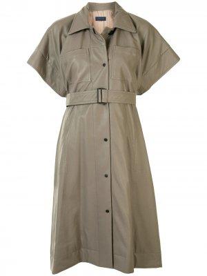 Платье-рубашка с поясом Eudon Choi. Цвет: серый