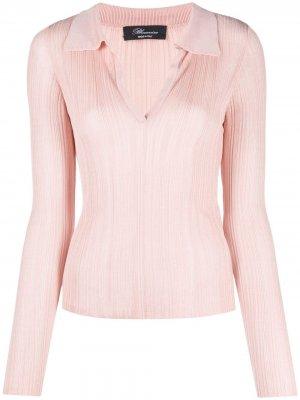 Рубашка поло в рубчик с V-образным вырезом Blumarine. Цвет: розовый