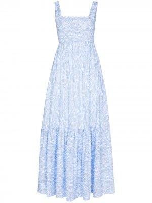 Платье макси Cape Verde со сборками Heidi Klein. Цвет: синий