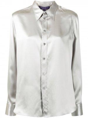 Атласная рубашка с длинными рукавами Ralph Lauren Collection. Цвет: серый