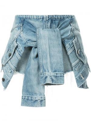 Джинсовая юбка-шорты с завязкой-рукавами Alexander Wang. Цвет: синий