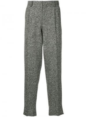 Меланжевые зауженные брюки Kolor. Цвет: серый