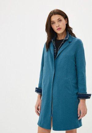 Пальто Marks & Spencer. Цвет: бирюзовый