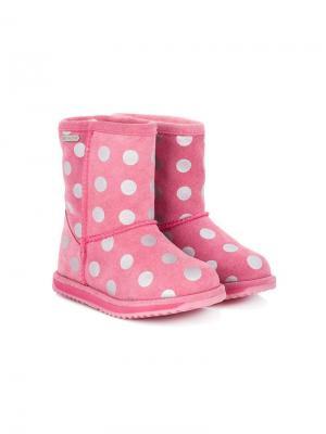 Ботинки в горох Emu Kids. Цвет: розовый