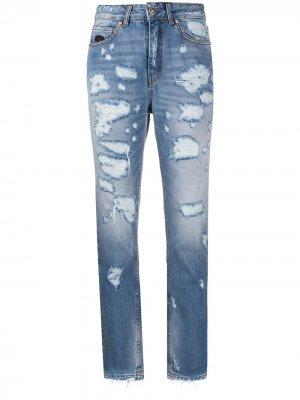 Зауженные джинсы с завышенной талией John Richmond. Цвет: синий