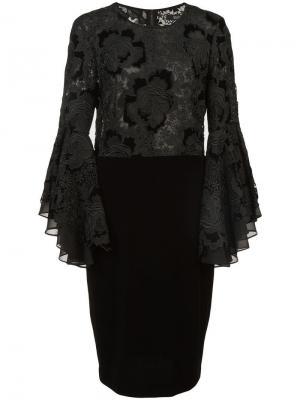 Кружевное платье с оборками на рукавах Badgley Mischka. Цвет: черный