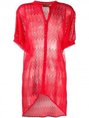 Рубашка тонкой вязки Missoni Mare. Цвет: красный