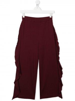 Широкие брюки с оборками Monnalisa. Цвет: красный