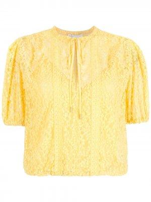 Кружевная блузка Nk. Цвет: желтый