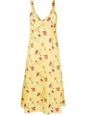 Платье с цветочным принтом R13. Цвет: желтый