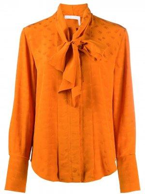 Рубашка с длинными рукавами и завязками Chloé. Цвет: оранжевый