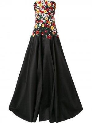 Платье без бретелей с вышитыми цветами Carolina Herrera. Цвет: черный multi