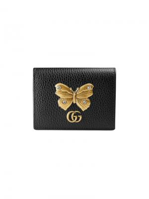 Футляр для карт с бабочкой Gucci. Цвет: черный