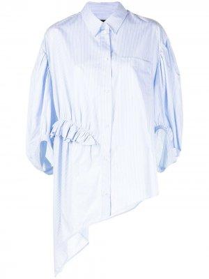 Полосатая рубашка асимметричного кроя Simone Rocha. Цвет: синий