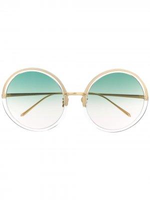 Солнцезащитные очки Kew C35 в круглой оправе Linda Farrow. Цвет: золотистый