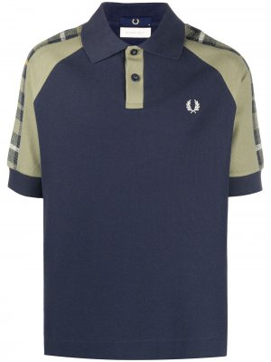 Рубашка поло с клетчатыми вставками Fred Perry. Цвет: синий