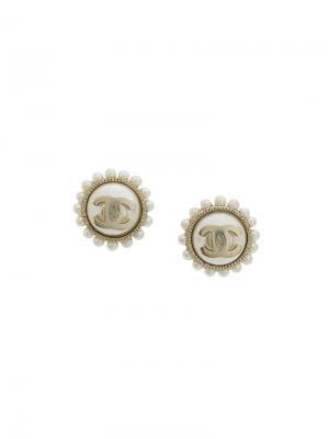 Круглые серьги с логотипом Chanel Vintage. Цвет: нейтральные цвета