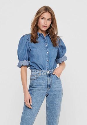 Рубашка Only. Цвет: синий