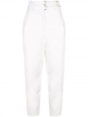 Зауженные брюки с двойным поясом Proenza Schouler. Цвет: белый