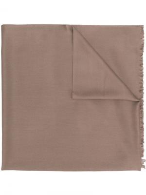 Шаль с необработанными краями N.Peal. Цвет: коричневый