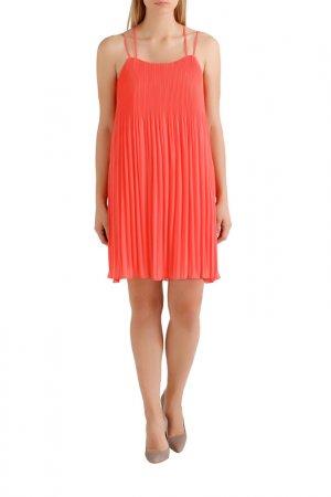 Плиссированное платье Apart. Цвет: коралловый
