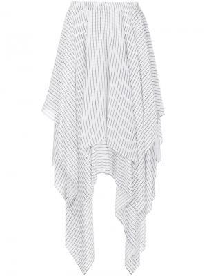 Асимметричная юбка в полоску Preen Line. Цвет: белый