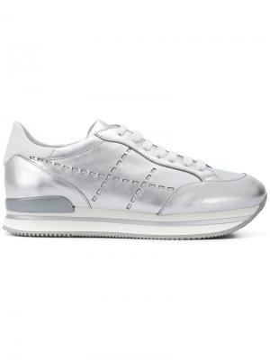 Кроссовки с футуристическим дизайном Hogan. Цвет: металлик