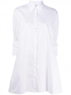Платье-рубашка мини с оборками на рукавах Victoria Beckham. Цвет: белый