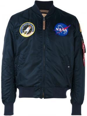 Куртка-бомбер NASA MA-1 Alpha Industries. Цвет: синий