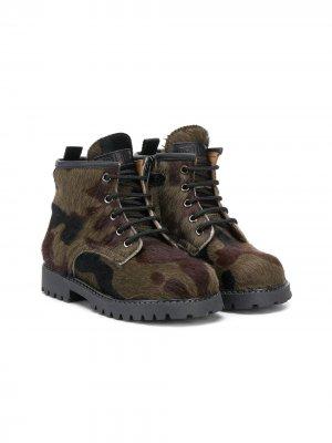 Камуфляжные ботинки Gallucci Kids. Цвет: зеленый