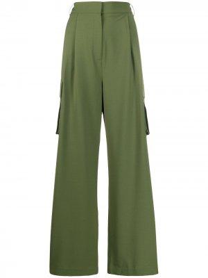 Брюки палаццо с карманами карго Tibi. Цвет: зеленый