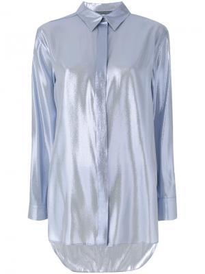 Классическая рубашка с длинными рукавами Alberta Ferretti. Цвет: синий