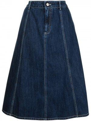 Джинсовая юбка А-силуэта P.A.R.O.S.H.. Цвет: синий