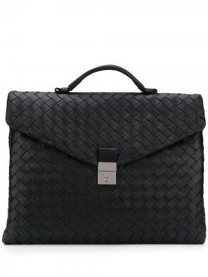 Портфель с плетением Intrecciato Bottega Veneta. Цвет: черный