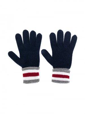 Перчатки с манжетами в полоску Dolce & Gabbana Kids. Цвет: синий