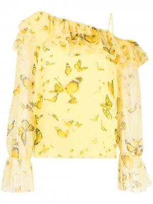 Блузка на одно плечо с оборками Blumarine. Цвет: желтый
