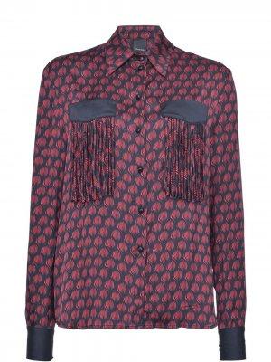 Рубашка с принтом и бахромой Pinko. Цвет: красный