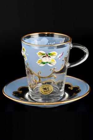 Чайный набор 6 пар Bohemia. Цвет: синий