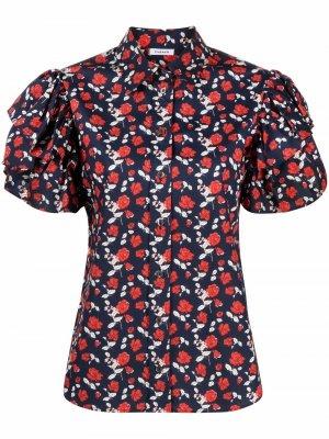 Рубашка с оборками на рукавах P.A.R.O.S.H.. Цвет: синий