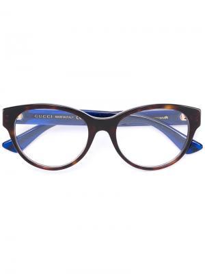 Очки с узором черепашьего панциря Gucci Eyewear. Цвет: синий