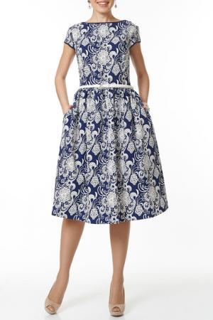 Платье с ремнем Argent. Цвет: синий, белый