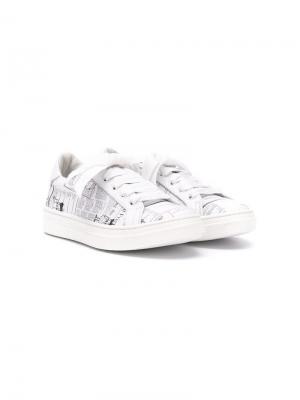 Кроссовки с графическим принтом John Galliano Kids. Цвет: белый