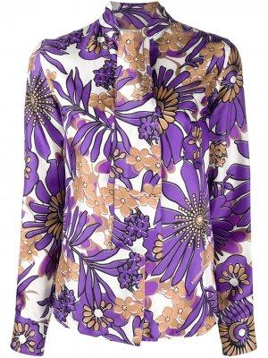 Блузка с завязками на воротнике и цветочным принтом Victoria Beckham. Цвет: фиолетовый